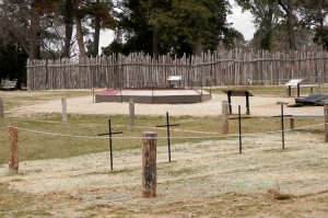 Fence and newer graves at Jamestowne
